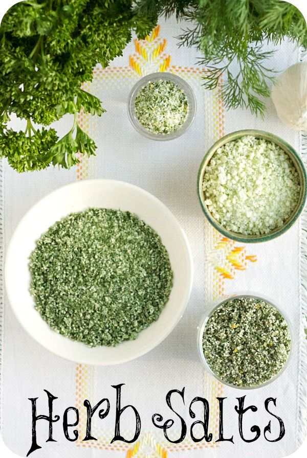 Herbed Salts - Recipes for 'Onion & Garlic Salt', 'Rosemary, Citrus, and Parsley Salt', 'Fresh Herb Salt' and 'Lovely Herb Salt' Blends.