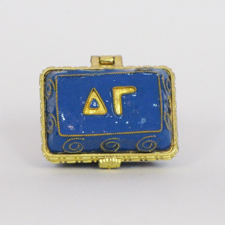 Officially licensed Delta Gamma, handcrafted, 24k gold plated cloisonne - www.KittyKeller.com