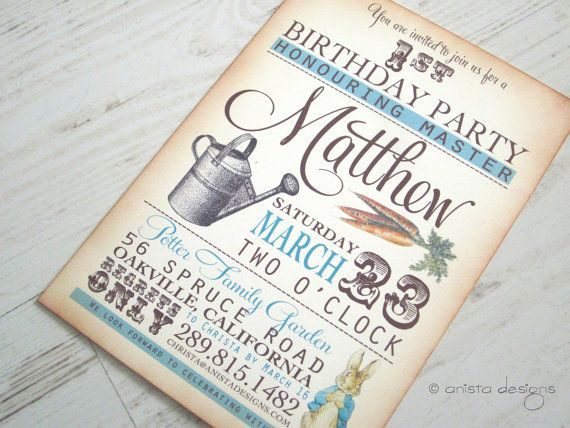 Peter Rabbit invitation baby shower/birthday by anistadesigns