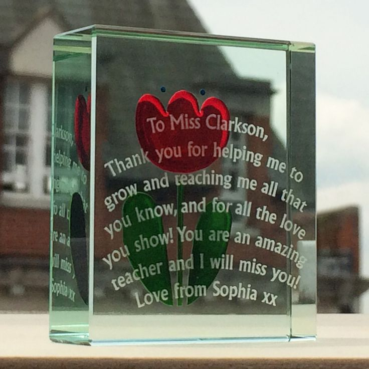 The ruby red tulip on this token has been depth blasted to give a 3D effect - makes a statement gift for sure. Can be personalised to include your own loving message. #Love #Message #Gift #Teacher #ThankYou #Special #Spaceform #London