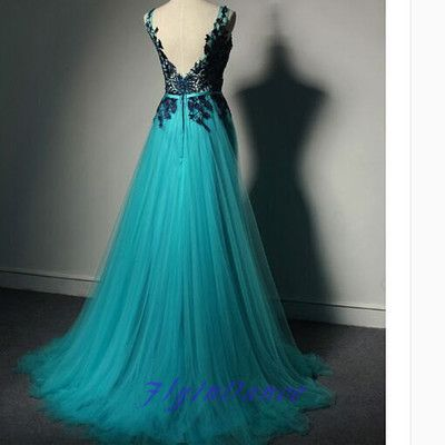Blue tulle new fashion prom dresses lace prom gowns,evening gowns
