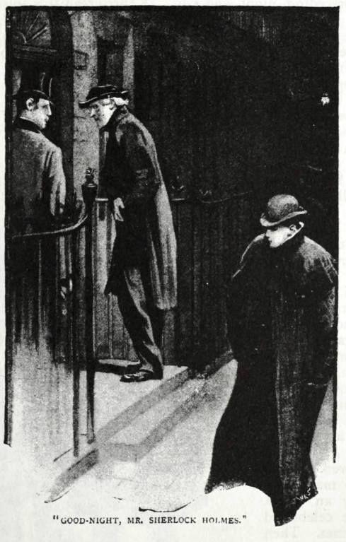 Sidney Paget, boa-noite, o sr. Sherlock Holmes; 1891. ILUSTRAÇÃO PARA ARTHUR CONAN DOYLE É 'um escândalo na Boêmia' / Sidney Paget, Good-night, Mr. Sherlock Holmes; 1891. Illustration for Arthur Conan Doyle's 'A Scandal in Bohemia'
