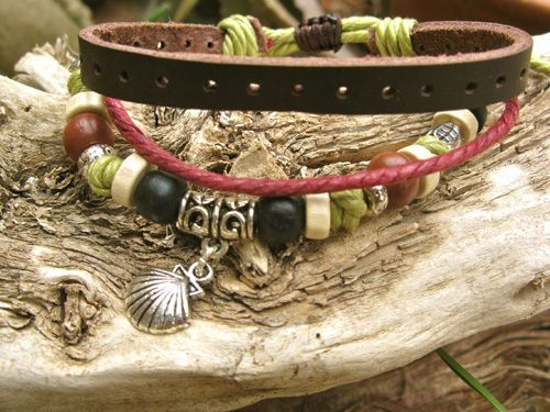 Camino scallop shell NaturalSoul bracelet ~ lichen, a lovely gift of inspirational jewellery