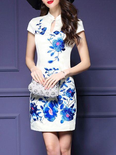 Shop Mini Dresses - White Vintage Stand Collar Floral Embroidered Mini Dress…