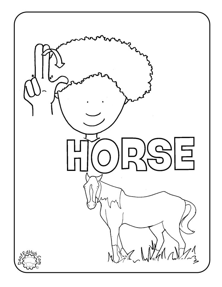 asl coloring page for the sign horse