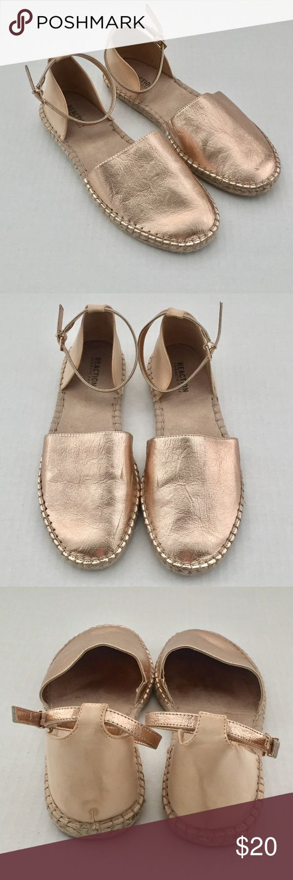 Kenneth Cole Reaction Rose Gold Espadrilles Rose gold espadrilles with ankle strap. Worn only a few times. Barely visible scratches. Rubber sole in excellent condition. Perfect for spring! Kenneth Cole Reaction Shoes Espadrilles