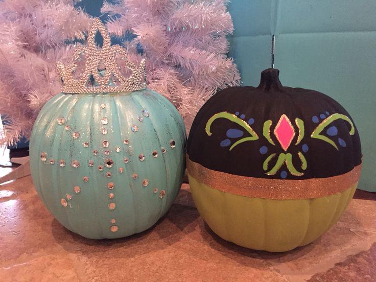 DIY Disney Frozen themed pumpkin; Elsa pumpkin and Anna pumpkin; Disney pumpkins for Halloween