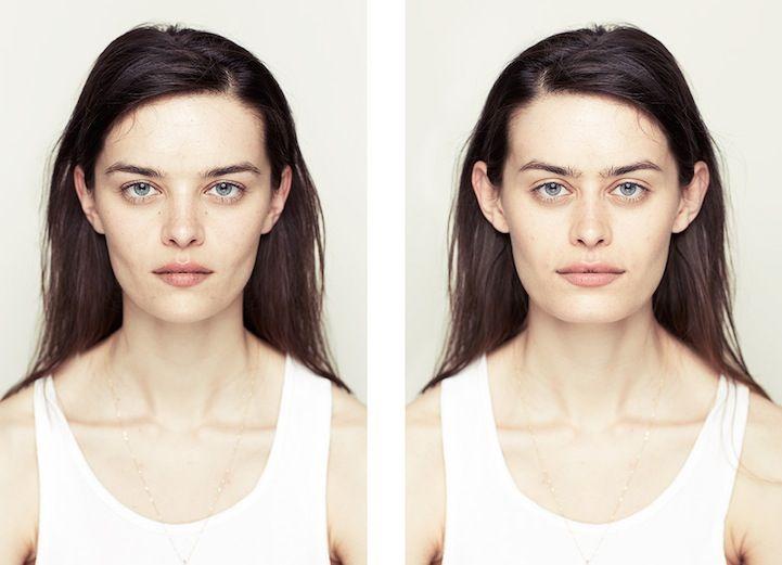 Symmetrie. Zelfde vrouw, 1e foto 2x linkerhelft, 2e, 2x rechterhelft van haar gezicht.