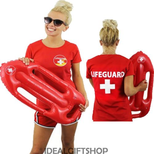 LADIES LIFEGUARD TOP & INFLATABLE FLOAT SET 80'S TV FILM FANCY DRESS BEACH GUARD | eBay