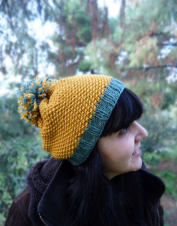 Women's hand knitted pompom hat, wool knit winter hat, yellow knit hat for women