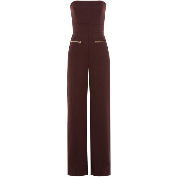Maison  Margiela Wool Jumpsuit found on Polyvore featuring jumpsuits, jumpsuit, playsuit, burgundy, dresses, brown, wide leg romper, jumpsuits & rompers, wide leg jumpsuit and brown romper