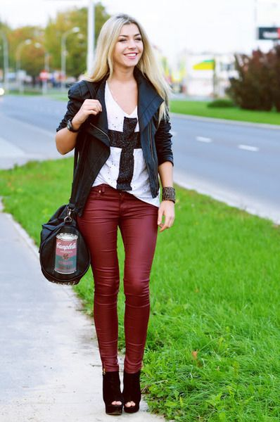11 best Red Leather images on Pinterest | Leather trousers Red pants and Leather