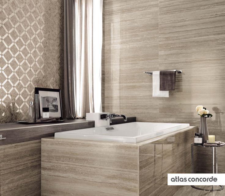 #MARVELPRO travertino silver, diagonal mosaic | #AtlasConcorde | #Tiles | #Ceramic |