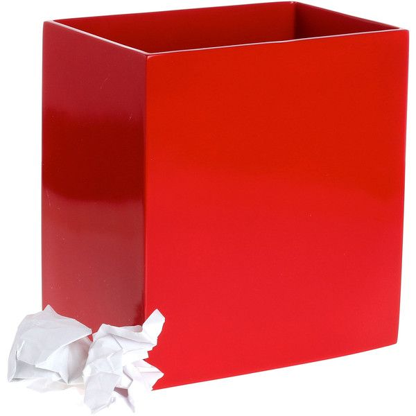 red lacquer wastebasket found on polyvore featuring polyvore home bed bath bath