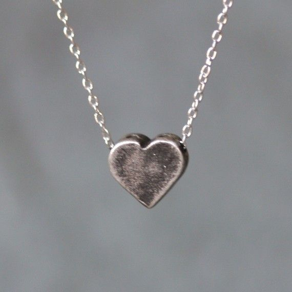 Heart Necklace with Holes in Antiqued by MichelleChangJewelry
