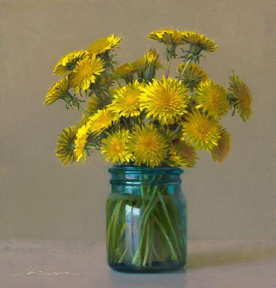 Jeffrey T. Larson - Fine Artist - - Jeff Larson Dandelions in Blue jar:
