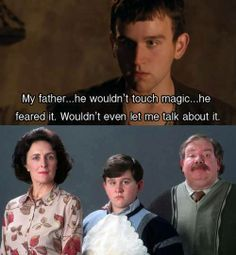 Harry Melling as Gilli the wizard from the show Merlin, and Dudley from Harry Potter.