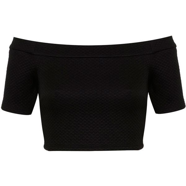 Miss Selfridge Petites Zip Back Bardot Top found on Polyvore featuring polyvore, fashion, clothing, tops, shirts, crop tops, crop, black, petite and black crop top