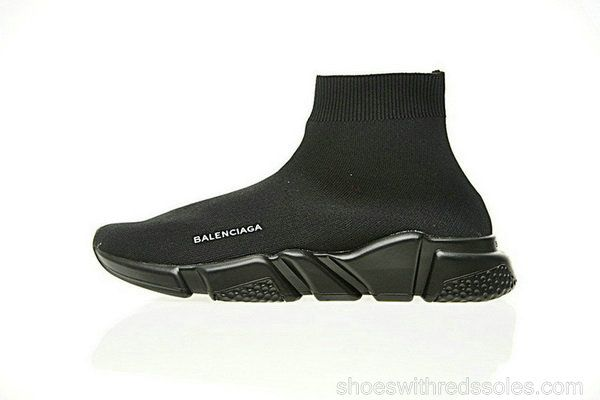 85cfa42ff60f Balenciaga Speed Stretch-Knit Mid Trainers ECBA700256A Triple Noir ...