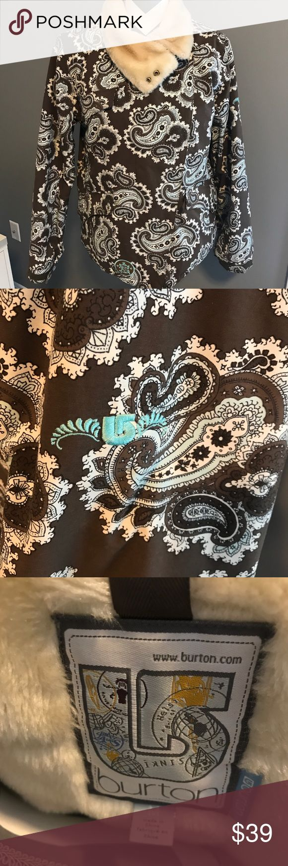 Burton ski coat Like new condition snow jacket. Brown in color with white paisley. Also has a plush collar. No attached hood  Size medium Has pockets each the zip close and also magnet close . Stylish cute jacket for the slopes or daily wear. Burton Jackets & Coats