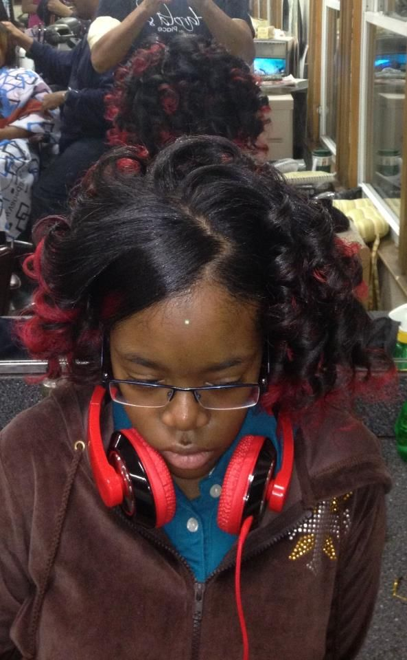 Spiral Curls With Red Tipped Color African American Teen Hair