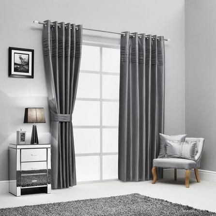 Hotel Pintuck Collection Lined Eyelet Curtains #Curtains #Grey #Silver