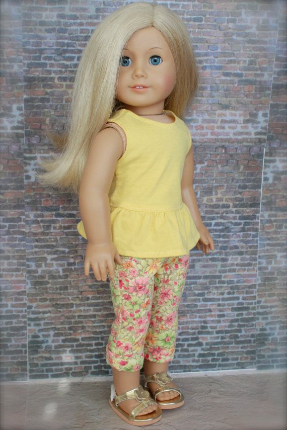 American Girl Doll Clothes - Trendy TWO PIECE Peplum Top Floral Skinny Jean Capris Outfit