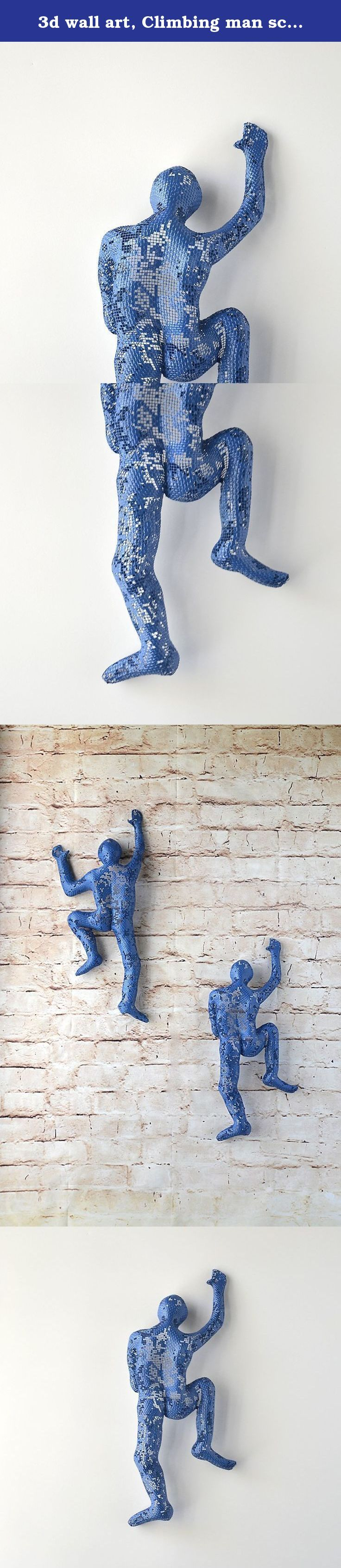 3d wall art, Climbing man sculpture, wire mesh, home decor, metal wall art, metal sculpture, rock climbing. This unique sculpture of climbing man is one of a kind and made of steel wire mesh. The climbing man is completely hollow, therefore it is very light. There is no use of internal mold or construction. It is covered with material (Paverpol) that gives the sculpture is strength, closes some of the holes of the wire mesh so it is not easy to bend. This piece can be placed inside or…