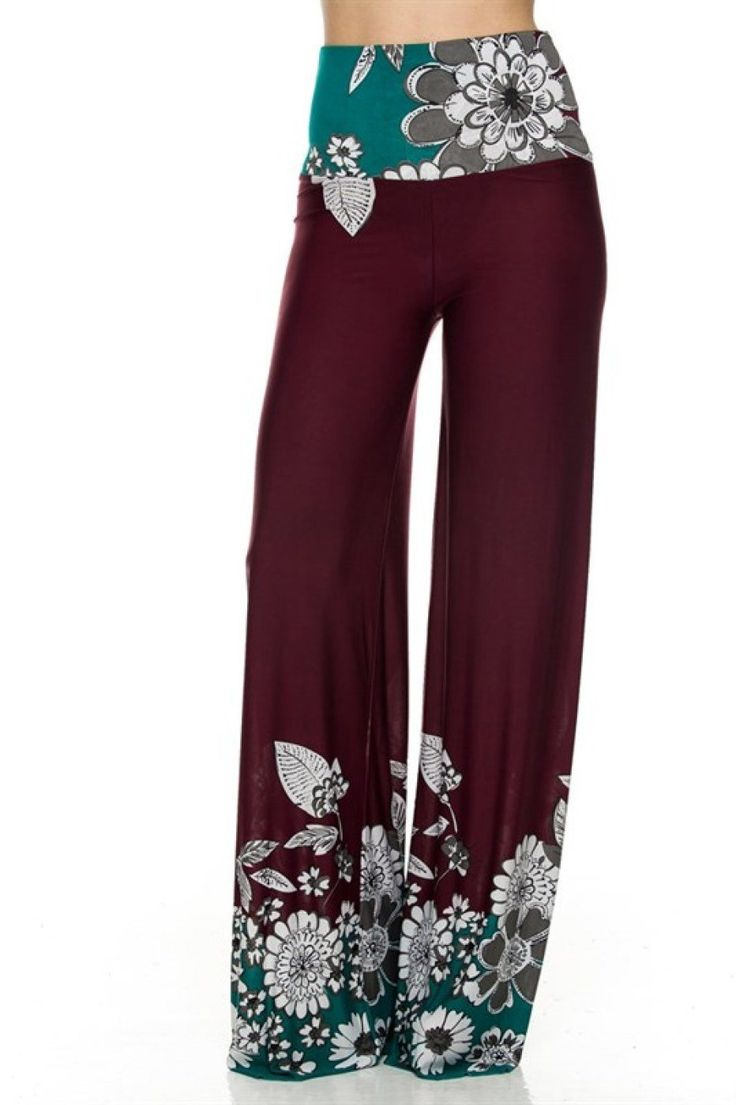 2LUV Women's Printed High Waisted Palazzo Pants at Amazon Women's Clothing store: