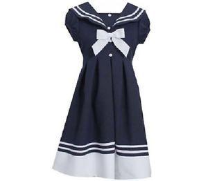 Bonnie Jean Girls Navy Sailor Nautical Spring Summer Dress Size 4 - 6X New