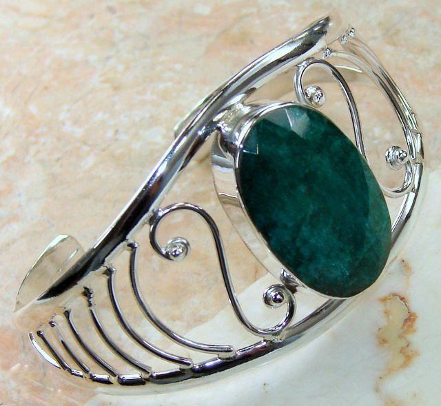 Indian Emerald Bracelet : Handmade Emerald Cuff Bracelet