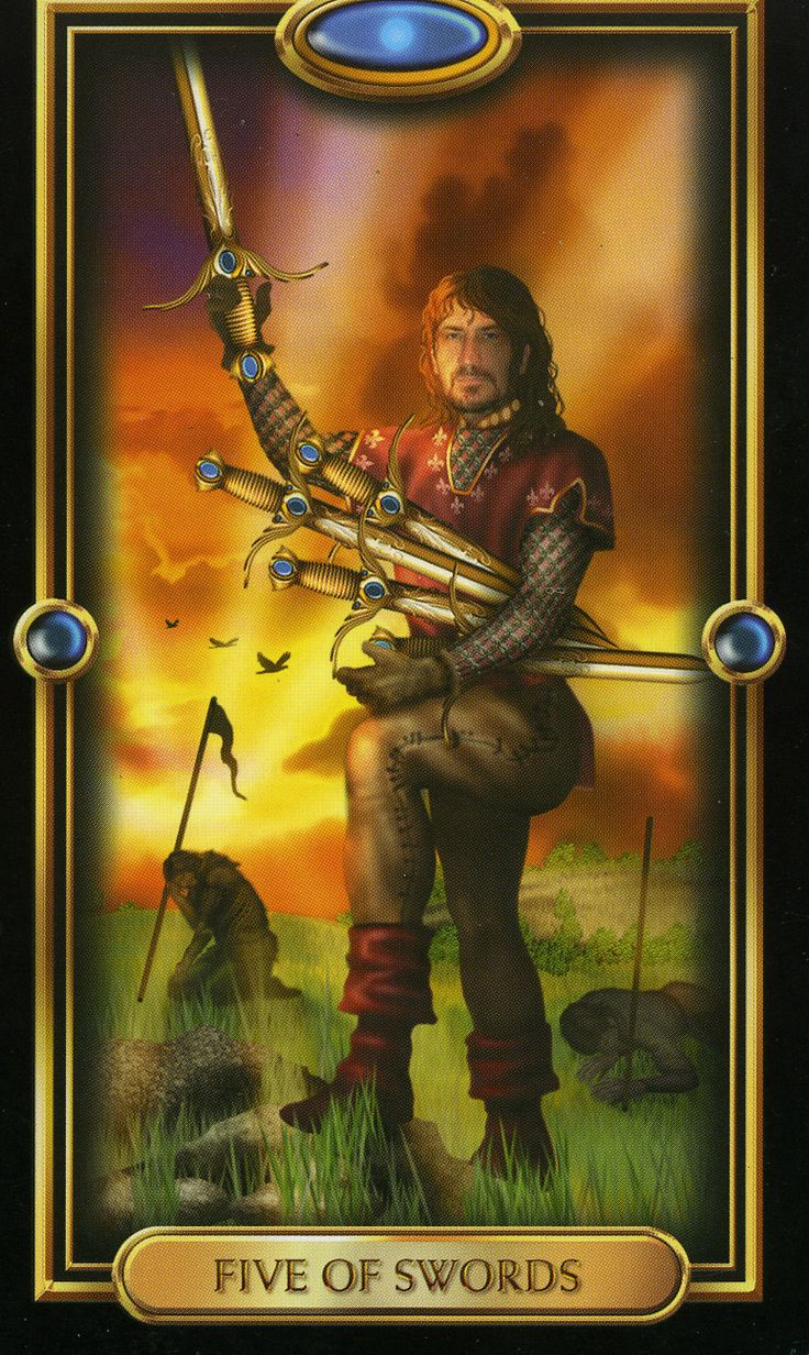 Five Of Swords  The Gilded Tarot Royale By Ciro Marchetti