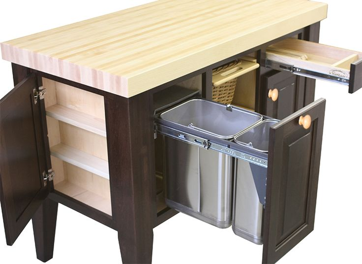 Beautiful Kitchen Island Trash Can | Fruit U0026 Spice W/Maple Top, Brown Maple Base