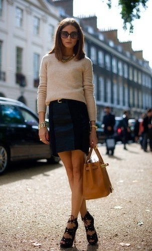 Thin sweater + skirt + open toe ankle boots + Hermes bag - I WANT THESE BOOTS!