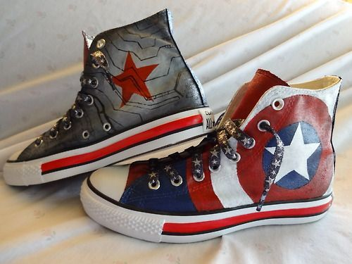 Captain America + The Winter Soldier Converse!!!! AWESOME!!!!!! <<< what made this awesome for me, is that the Cap's shoe is the LEFT one!!! X3