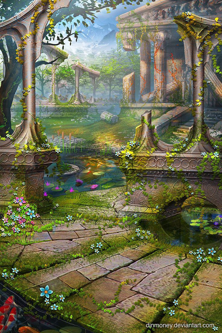 Temple Garden, Geoff Trebs on ArtStation at https://www.artstation.com/artwork/ek6Y
