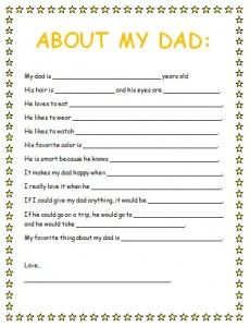 Free Father's Day Questionnaire printable. Great for a Father's Day gift from the kids!
