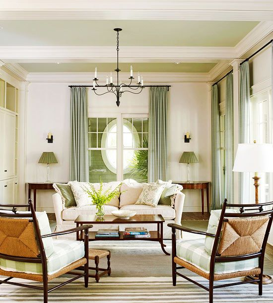 Cool Celadon And Warm White Give This Living Room A Dynamic Persona That Relies On Fine