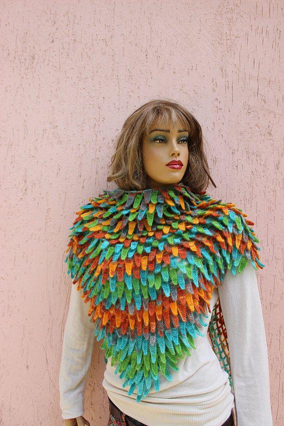 Feather Shawl Knit Shawl Rainbow Shawl Unique Shawl Winter