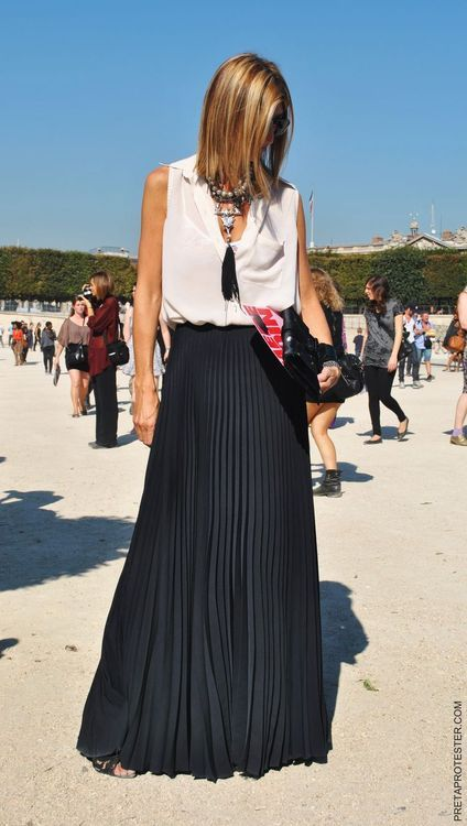 black pleated maxi skirt + sheer top