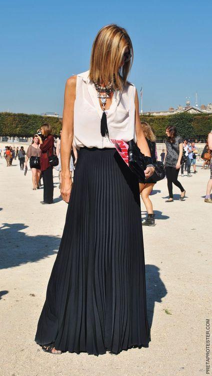 black pleated maxi skirt + sheer top