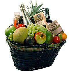 cesta especail de frutas y vino con cava incluido