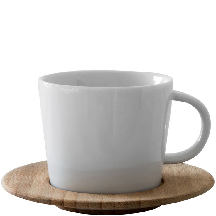 Porcelain Mug with Bamboo Saucer #weylandts #entertaining