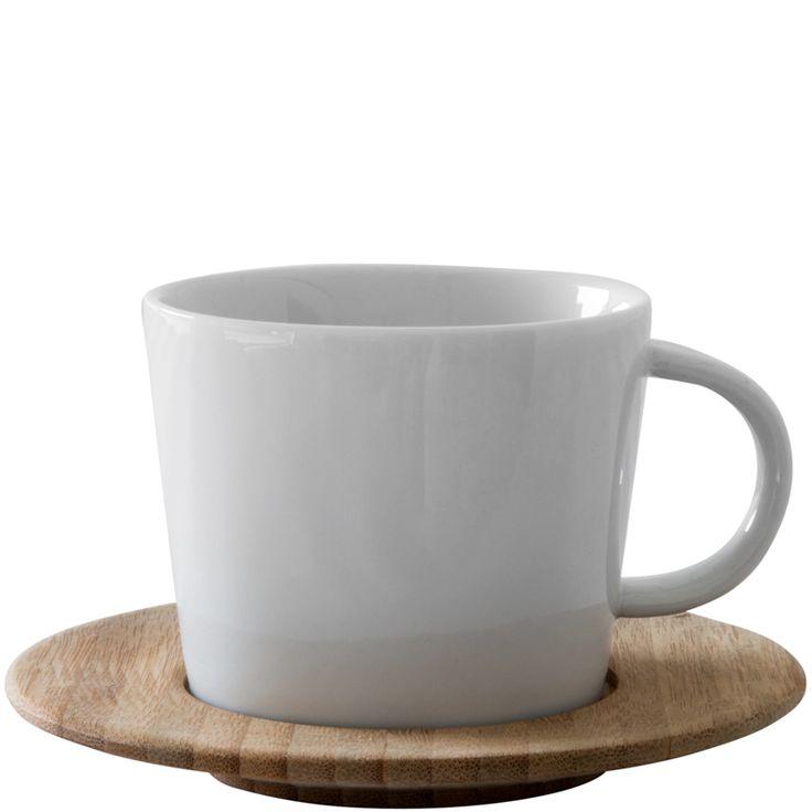 Porcelain Mug with Bamboo Saucer #weylandts #entertaining