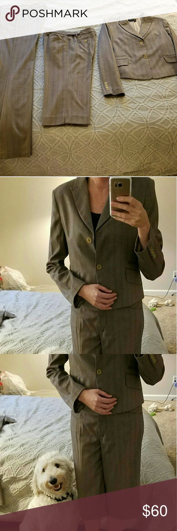 """BCBGMaxAzria 3 piece suit (blazer, slacks, capri) BCBG MaxAzria 3 piece brown suit. I've lost a bit of weight, so my suits no longer fit me. Pants are size 10. Jacket is a Large. Capri pants are dressy, hit below the knee. I'm 5'-11"""" and pants are plenty long & can be hemmed.  All 3 pieces sold together. I will not sell separately. Sorry no trades, I'm trying to purge! Full disclosure, I do not smoke, however I have a hypoallergenic Labradoodle (photobomb) that doesn't shed (not for sale…"""