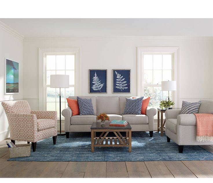 Kingsley sofa in sunbrella fabric is the perfect neutral tone to offset with bold colored · boston interiorsnew
