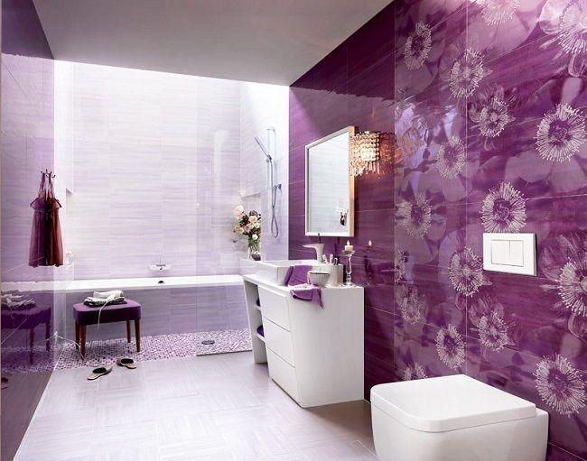3-combinatii alb lila si violet decor baie moderna