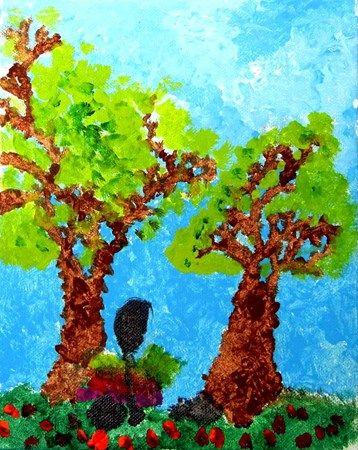 Pointillism Landscape -  2nd grader