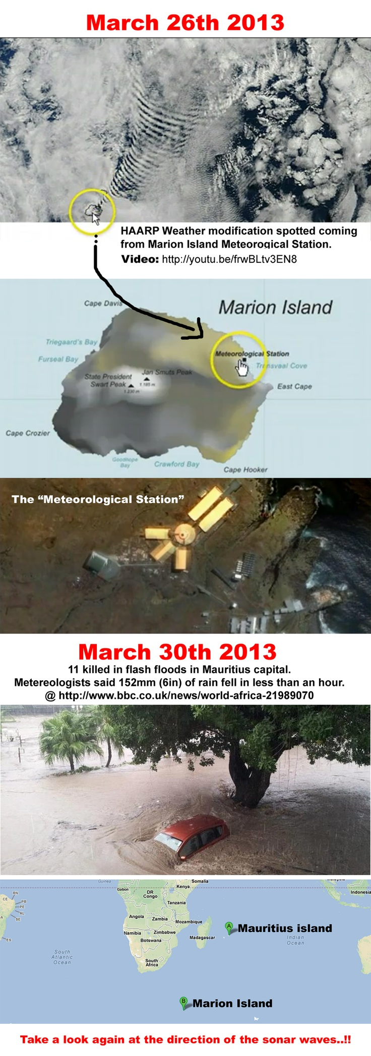 HAARP Weather Modification Spotted coming from Marion island and targeting Mauritius island – 11 dead from floods