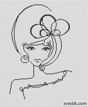Devushka----4300 Схема для вышивки scheme for cross stitch